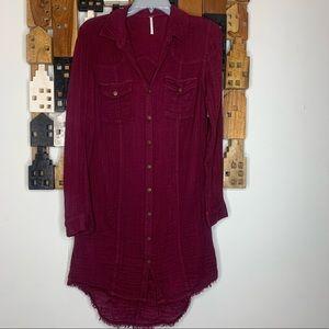 XS Free People Burgundy tunic top